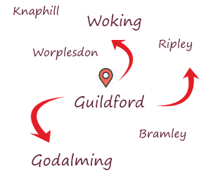 Simple map of Guildford